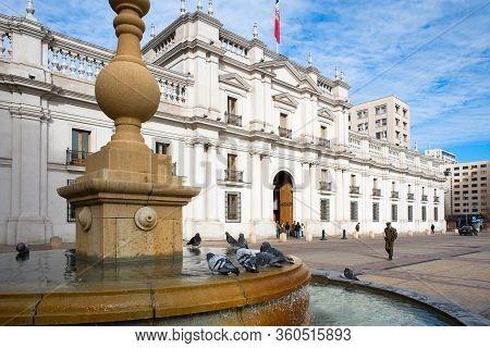 Santiago De Chile, Region Metropolitana, Chile - July 12, 2008: Palacio De La Moneda, Or La Moneda,