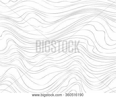 Wave Lines Pattern. Thin Black Wavy Lines Isolated On White Background. Abstract Vector Texture For