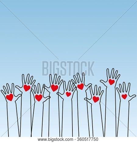 Raised Human Hands With Red Hearts. Concept Of Charity, Volunteerism And Donation. Children's Hands