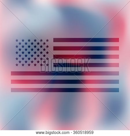 Camo Illustration In National Usa Colors - White, Red And Navy Blue