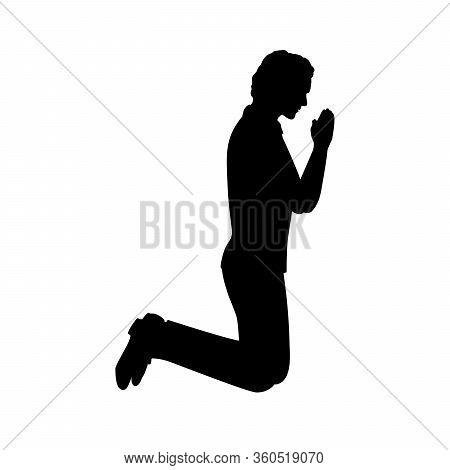 Silhouette Of Man Kneeling Praying. Illustration Graphics Icon