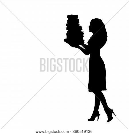 Silhouette Woman Holds Books. Illustration Graphics Icon