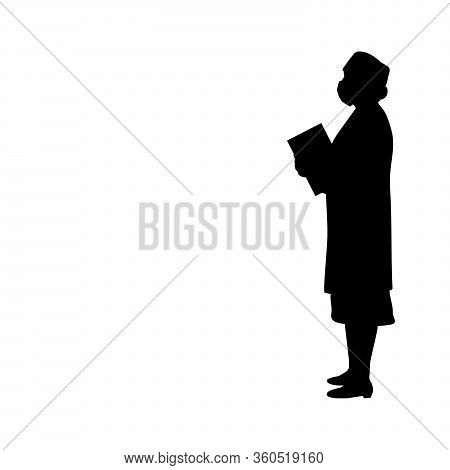 Silhouette Woman Doctor Mask. Illustration Graphics Icon