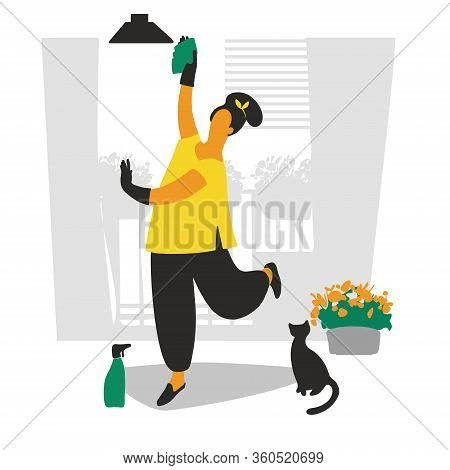 Woman Runs A Household, Wipes Dust With A Spray Gun, Cleaning. Flat Style. Vector Illustration