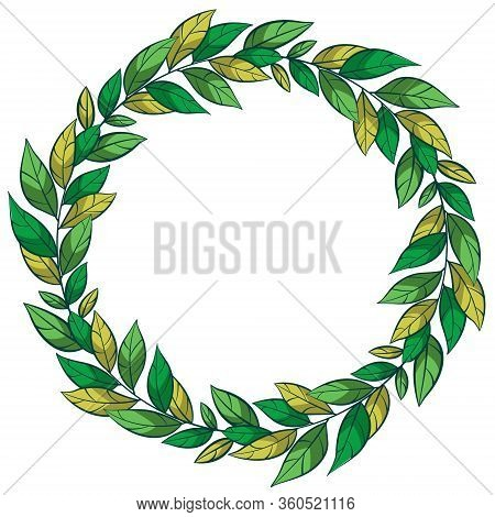 Vector Floral Wreath; Round Foliate Frame For Greeting Cards, Invitations, Wedding Cards, Posters, B