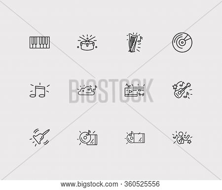 Melody Icons Set. Cloud Music And Melody Icons With Drums, Album And Vinyl. Set Of Ringing For Web A