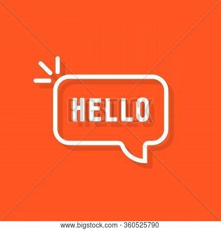 Linear Hello Word In Speech Bubble. Flat Cartoon Style Trend Modern Minimal Popup Logotype Graphic A