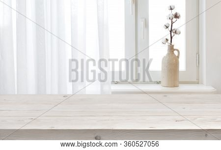 Wooden Planks Table For Product Display On Window Sill Background