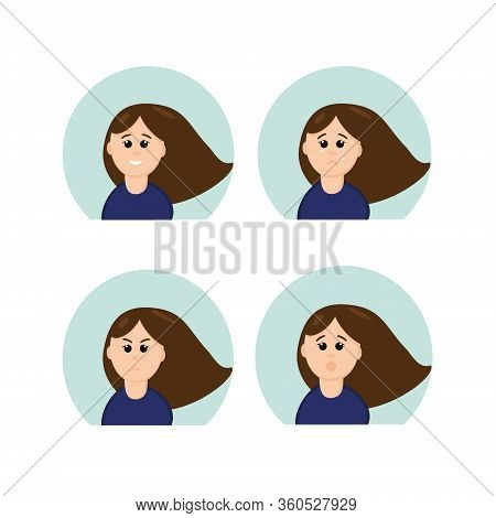 Girl With Different Emotions: Joy, Sadness, Grief, Surprise, Crying, Laughing In A Flat Style. Vecto