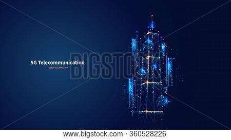 Blue Abstract 3d Isolated  5g Tower On Innovation Technology Background. Low Poly Wireframe Digital