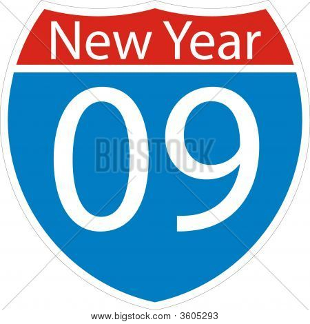2009 New Year Road Sign