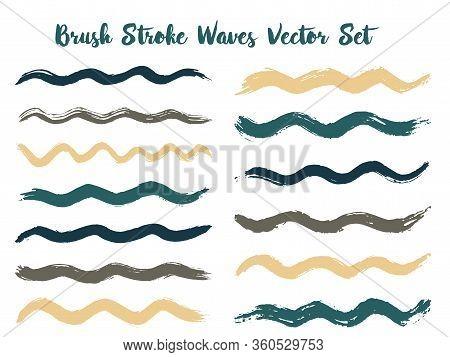 Isolated Brush Stroke Waves Vector Set. Hand Drawn Grey Brushstrokes, Ink Splashes, Watercolor Splat