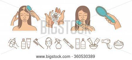 Hair Loss Problem. Hair Loss Woman Vector Illustration. Hair Care And Treatment Icons