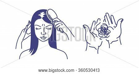 Hair Loss. Alopecia. Baldness. A Woman Is Combing Her Hair. A Clump Of Hair On The Palms. Vector Ill