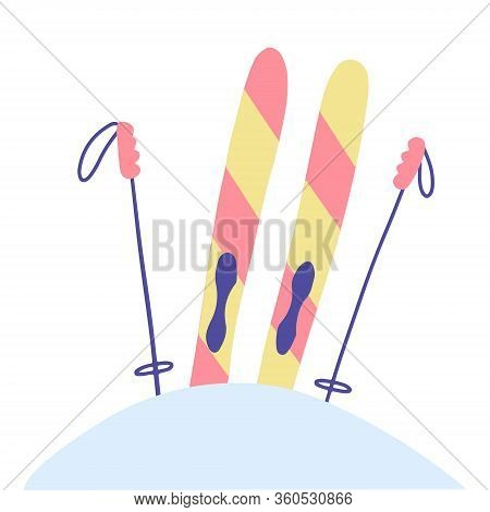 Striped Skis Stuck In A Snowdrift And Sticking Out Of Snow, Isolated Vector Illustration In Graphic