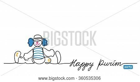 Happy Purim Simple Vector Web Banner With Clown. One Continuous Line Drawing, Background, Illustrati
