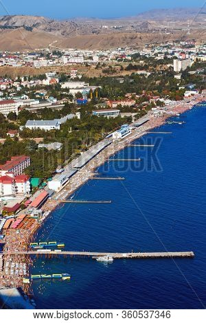 Arial View Of Beautiful Coastline In The Crimean Peninsula, Ukra