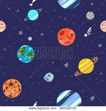 Space Pattern With Planets And Stars. Bright Childish Tile. Cute Design For Kids Fabric And Wrapping