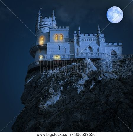 Medieval Castle At Night. Swallows Nest, The Crimean Peninsula,