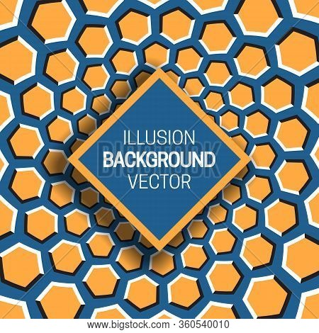Square Frame On Orange Blue Optical Illusion Background Of Moving Hexagons Shapes.