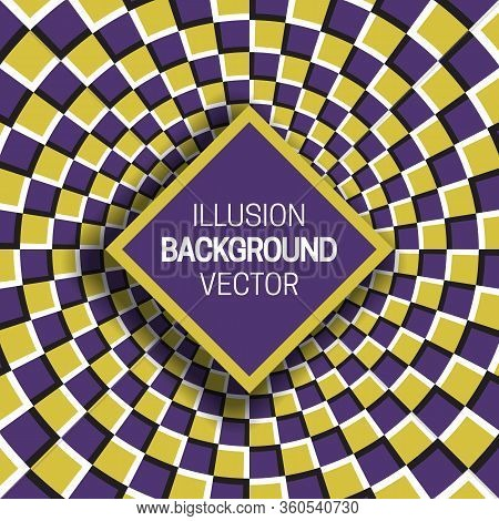 Square Frame On Yellow Purple Optical Illusion Hypnotic Checkered Background.