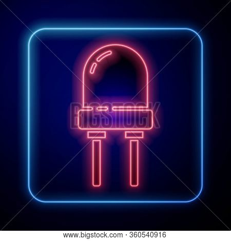 Glowing Neon Light Emitting Diode Icon Isolated On Blue Background. Semiconductor Diode Electrical C