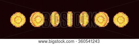 Gold Coin Animation Frames For 16 Bit Retro Video Game.  Golden Pixelated Coin Animated Frames, Retr