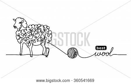 Sheep Best, Finest Wool. Vector Label Design, Simple Background. One Continuous Line Drawing Of Shee