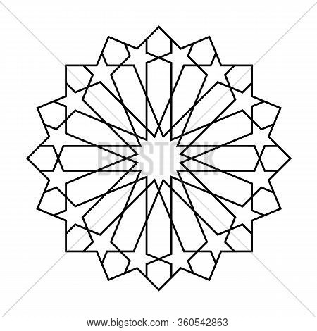Geometric Islamic Pattern For Decoration Greeting Card Isolated On White Background. Vector Illustra