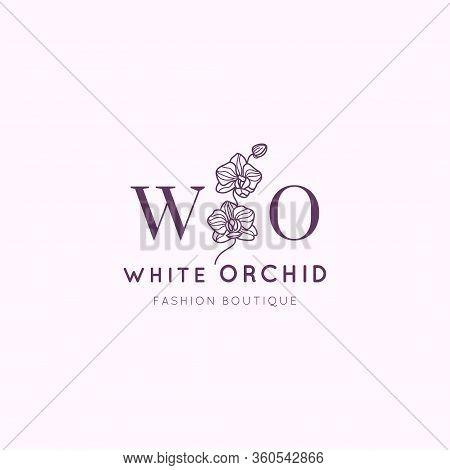White Orchid Logo Design Template In Simple Minimal Linear Style. Vector Floral Emblem And Icon For