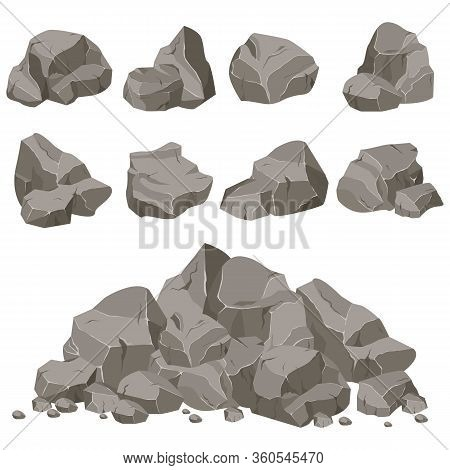 Set Of Stones Of Various Shapes. Rocks And Debris Of The Mountain. Huge Block Of Stones. Vector Illu