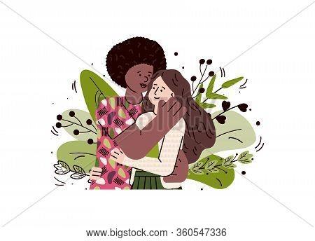 Multiethnic Loving Couple Hugging, Sketch Cartoon Vector Illustration Isolated.