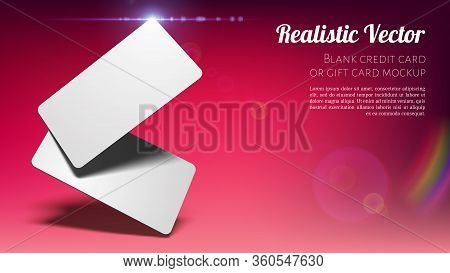 Universal Mockup Of Bank Or Gift Cards Placed Angled With Shadows On Red Background.