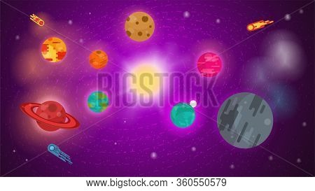 Banner For Design, Universe With Planets In Orbit, In The Center Of The Sun, Stars, Nebulae, Comets,