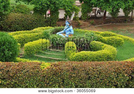 Statue of Hindu Lord Krishna at Shree Swaminarayan Gurukul in Hyderabad, India