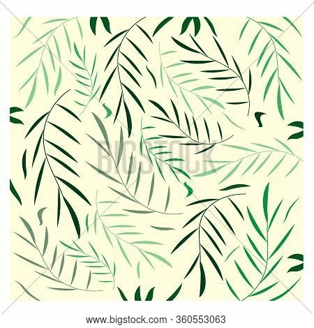 Composition With Foliage. Elegant Light Green Botanical Collection. Decoration Ornament. Graceful El