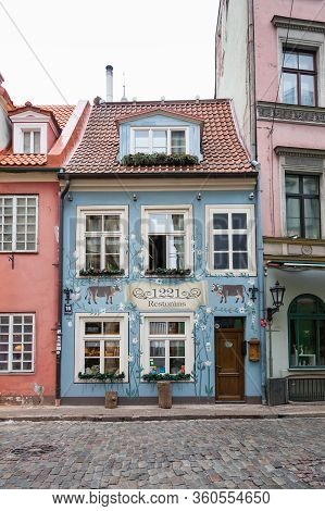 Riga, Latvia - February 2:  A Traditional Restaurant Facade In Riga Old Town Is Pictured On February