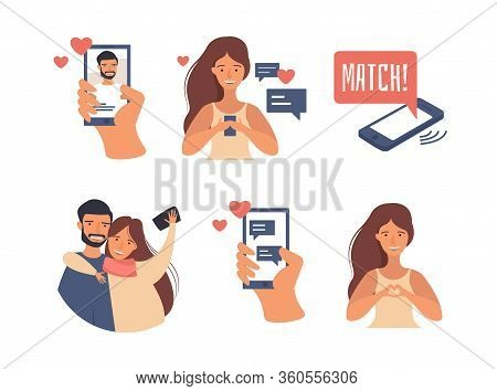 Dating Applications Concept. Vector Illustration On Online Dating App Users With Abstract Profiles.