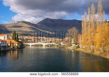 Beautiful Panoramic View Of Trebisnjica River And Trebinje City. Bosnia And Herzegovina, Republika S