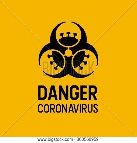 Coronavirus Biohazard Combined Warning Sign. Covid-19 And Biohazard Caution Sign. Coronavirus Outbre