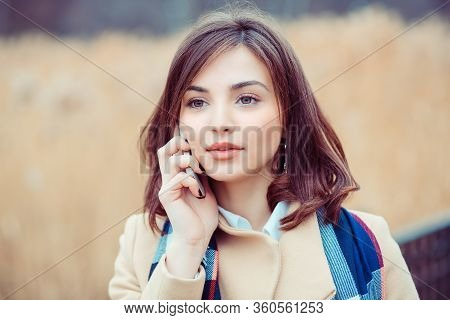 Woman Phone Talking. Closeup Young Happy Beautiful Woman Girl Lady Talking On Mobile Cellphone Looki