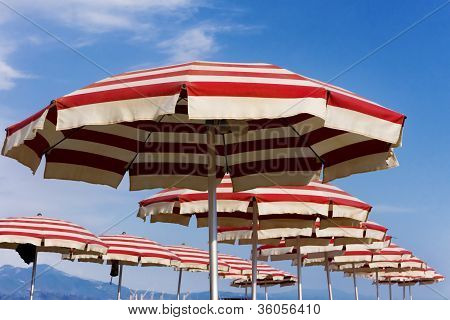 beach umbrellas on Riccione, Italy