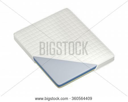 Cutaway Of Multilayered Mattress, Isolated On White Background, 3d Illustration