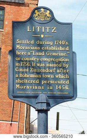 Lititz, Pennsylvania/united States - April 13 2019: Close Up Of The Blue Historical History Sign In