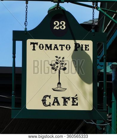 Lititz, Pennsylvania/united States - April 13 2019: The Tomato Pie Cafe Sign Outside Of The Cafe In