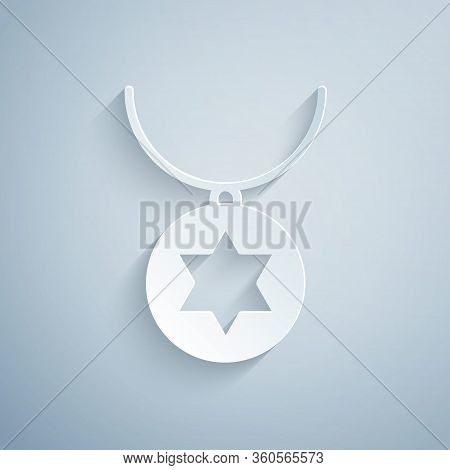 Paper Cut Star Of David Necklace On Chain Icon Isolated On Grey Background. Jewish Religion. Symbol
