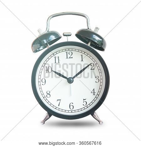Black Retro Alarm Bell Clock Isolated On White Background,  Concept For Business Deadline.