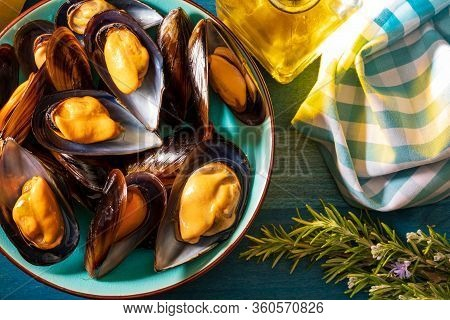 Appetizing Steamed Mussels (olive Oil, Lemon And Rosemary). Mediterranean Diet Style. Top View.