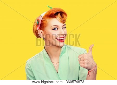 Pin Up Girl Showing Like Sign Gesture