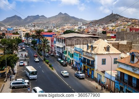 Mindelo/cape Verde - August 9, 2018 - City Streets Aerial View, Sao Vicente